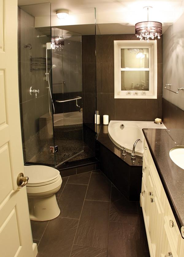Compact Dark Bathroom Design