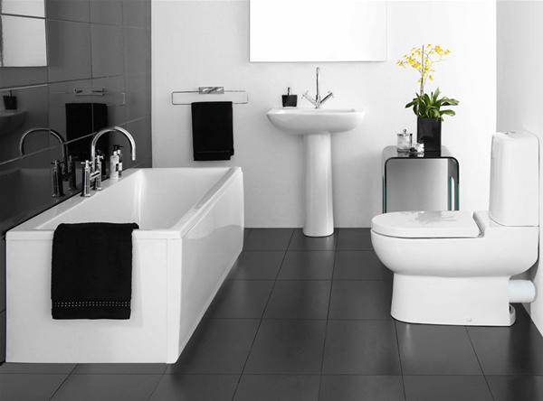 Contemporary Small Bathroom Design With Bathtub