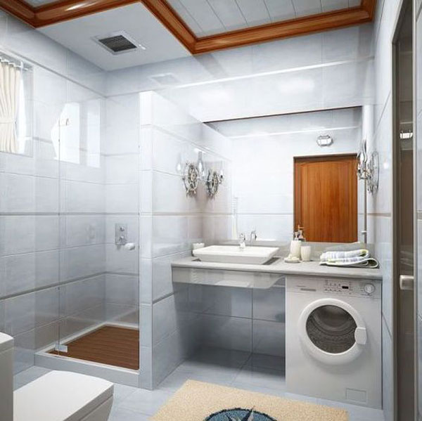 Small Bathroom Design With Washer
