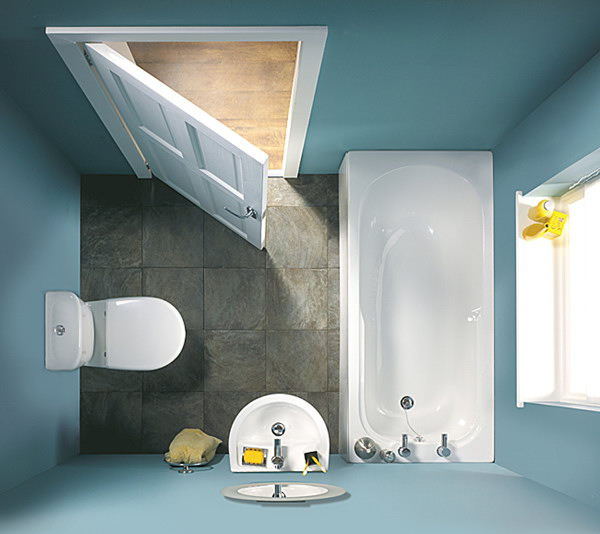 Small Blue Bathroom Top View