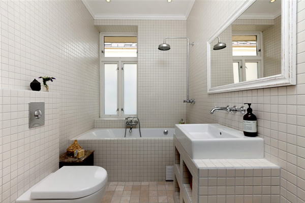 Small White Bathroom Design Layout