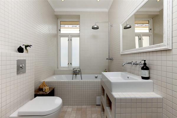 Small White Bathroom Design Layout
