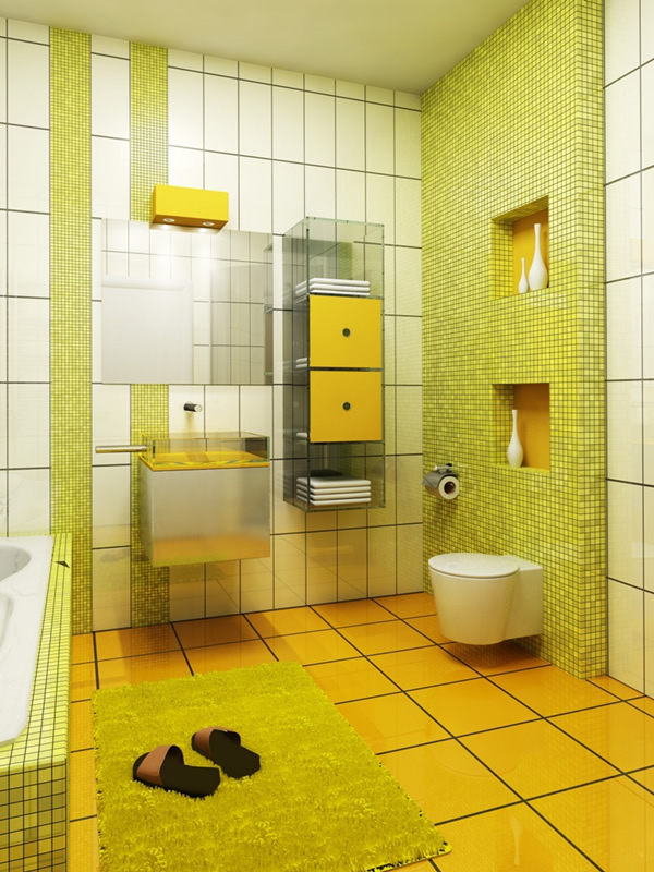 Small Yellow And White Bathroom