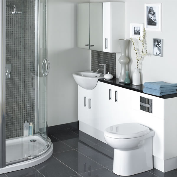 White Compact Bathroom Layout