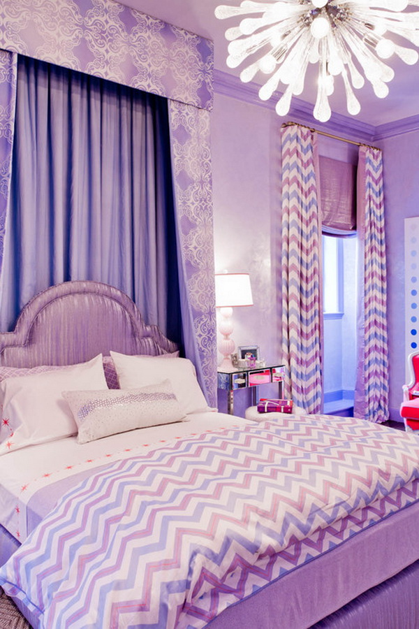 Purple Romantic Girls Bedroom Design