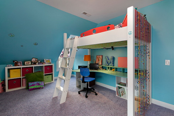 Teenage Girl Bedroom with Loft Bed