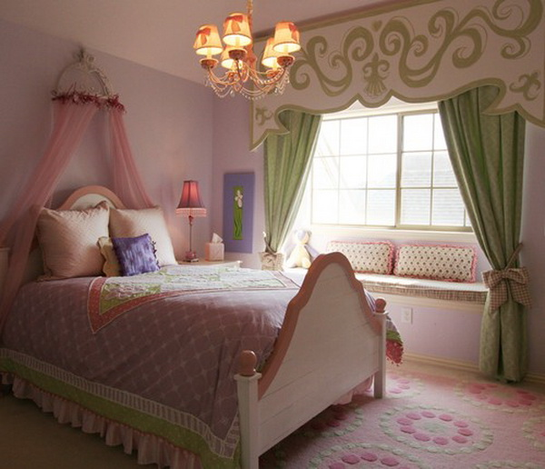 Traditional Pink Girls Bedroom
