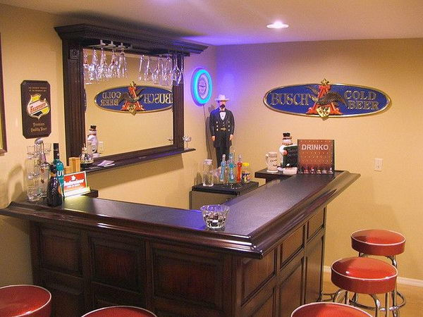 L Shaped Layout for Small Bar.