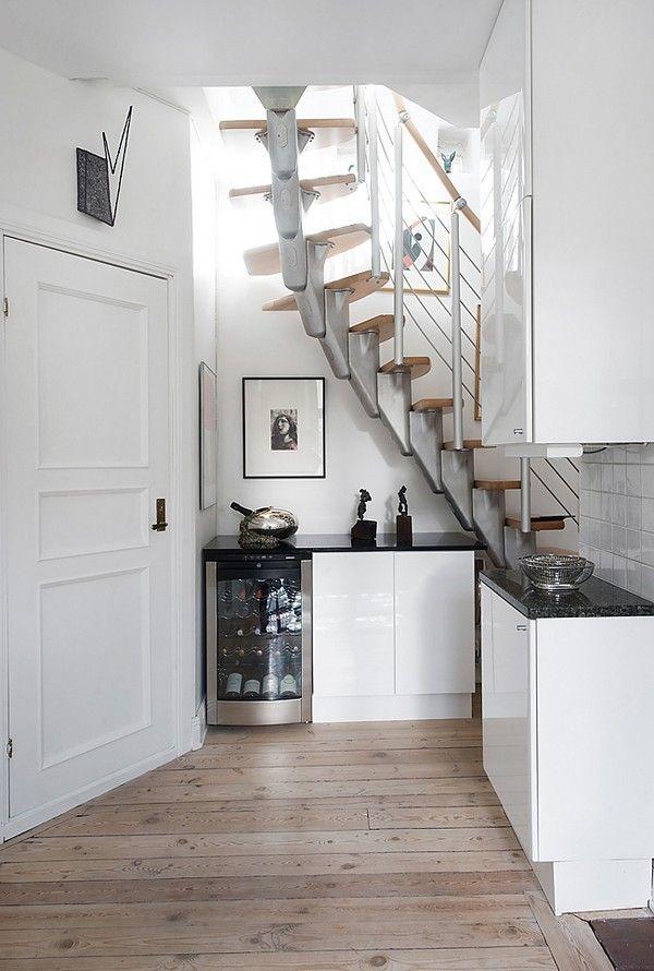 White Bar Under Stairs.