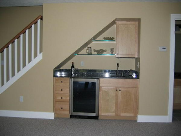 Small Under Stair Wet Bar for Basement.
