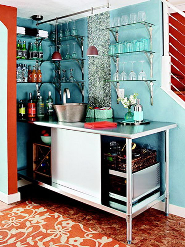 Open Bar. This is a DIY industrial look bar with open shelves.