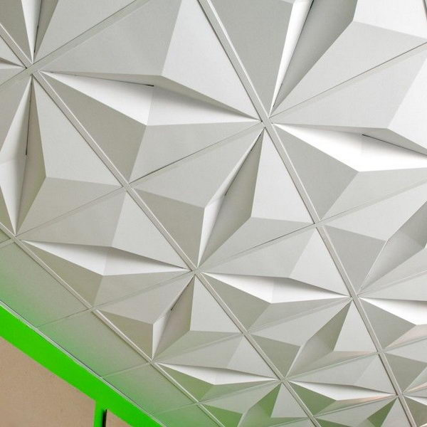 3D Drop Ceiling Tiles. Made from recycled cardboard and designed to ship flat and be folded at the installation site, the lightweight two by two foot modules are a cost effective and dramatic solution for spaces that require suspended ceilings.