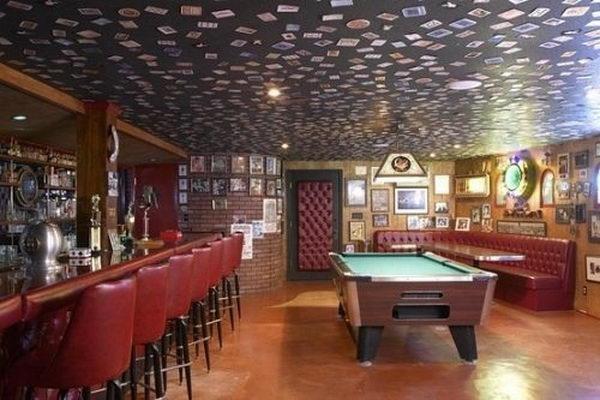Photos on Basement Bar Ceiling,