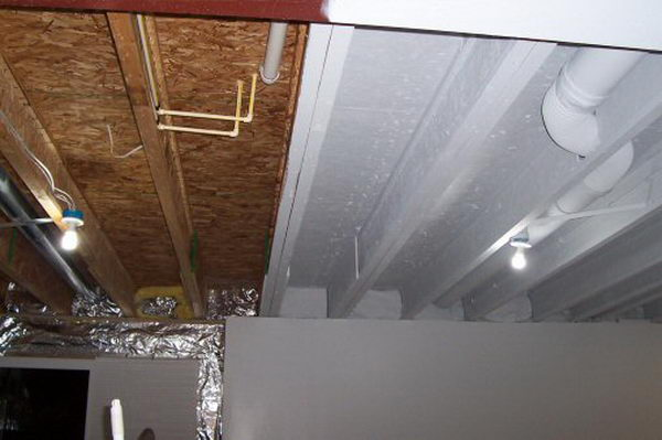 look basement ceiling painting instead of drywall or drop ceiling