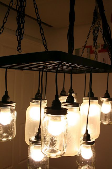 DIY Mason Jar Chandelier,