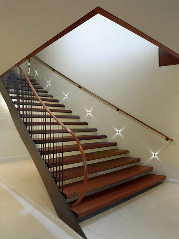 Basement Stairs Lighting. Built in night lights to go down or up stairs when it is dark.