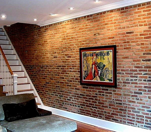 Brick Basement Wall. If basement walls are originally brick instead of poured concrete, leave them as is for a chic loft-like look. Concrete walls could be covered with faux brick treatment.