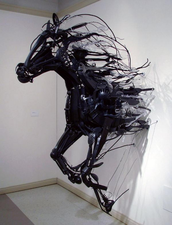 Installation Art from Discarded Plastic. Sayaka Kajita Ganz created these wild horse sculptures from trash-picked objects like plastic utensils, toys, and metals.