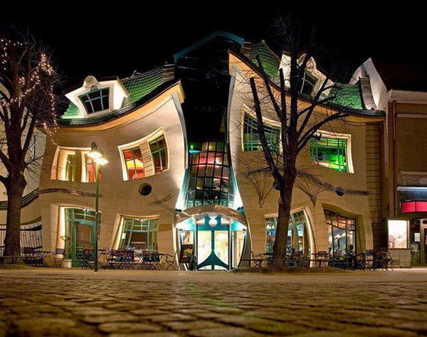 The Crooked House (Sopot, Poland). The building looks like it is melting in the midday sun and is one of the most photographed buildings in Poland.