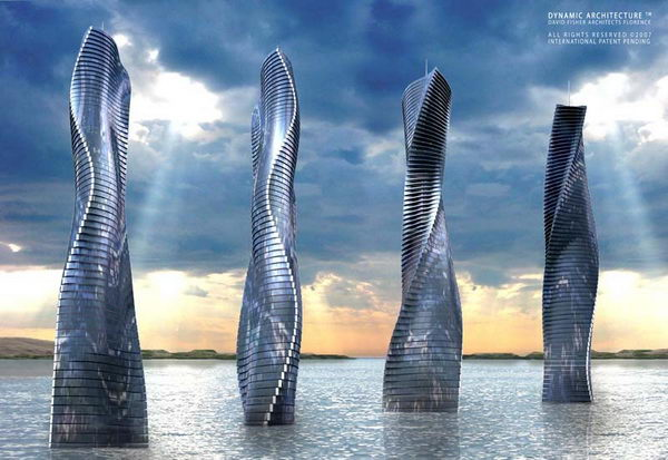 Dynamic Tower (Dubai). It will modify itself to the sun, wind, weather and views by rotating every floor independently. This building will never show up precisely the same twice.