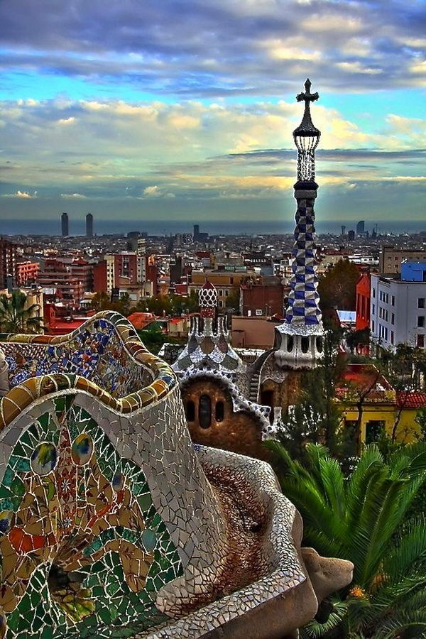 Park Guell (Barcelona, Spain). A unique landscape with the unique mosaic designs, integrated into the countryside staircases, magnificent caves and the Gaudí Museum.