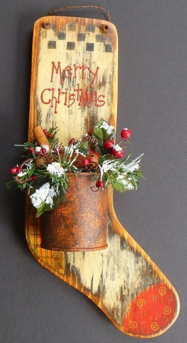 Primitive Wood Stocking Decoration,