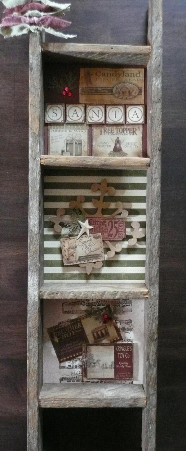 Rustic Ladder Shelf Primitive Decorating Idea,