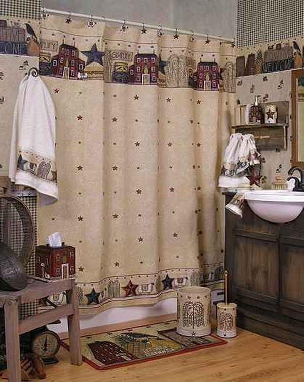 Primitive Bathroom Decor Design,
