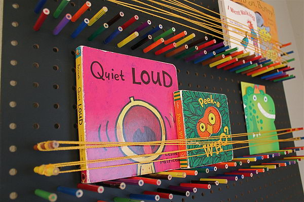 Pegboard Bookshelf with Pencils and String,