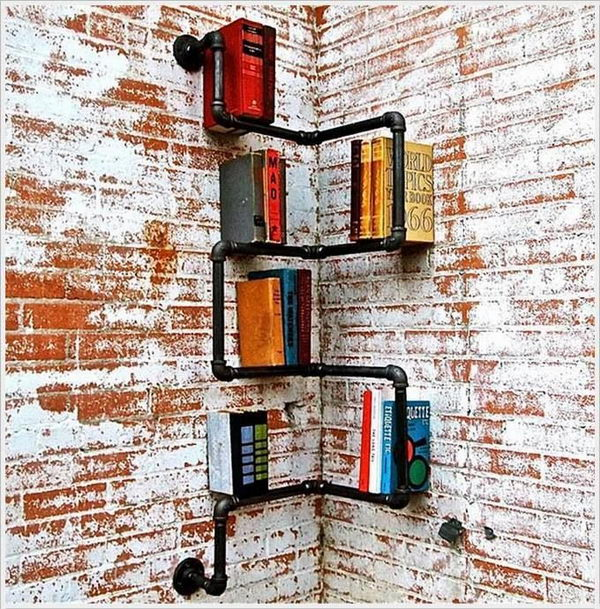Industrial Corner Pipe Shelf,