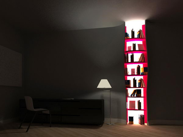 Build-in Bookshelves with Backlighting,
