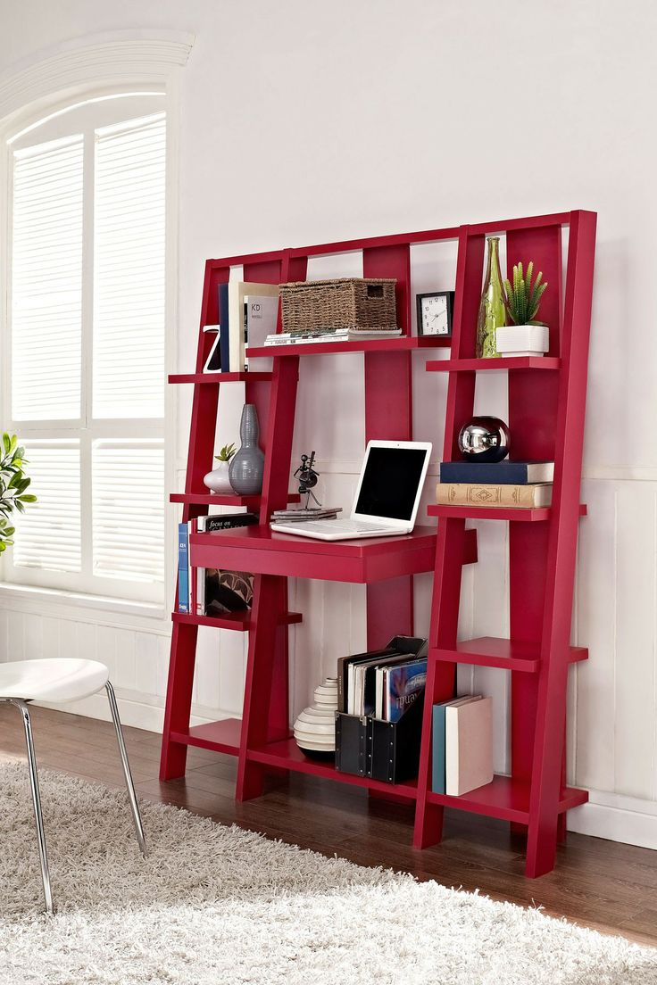 Red Ladder Bookcase with Desk: a clever design that combines a desk, pull-out drawer and storage shelves in one space-saving design.