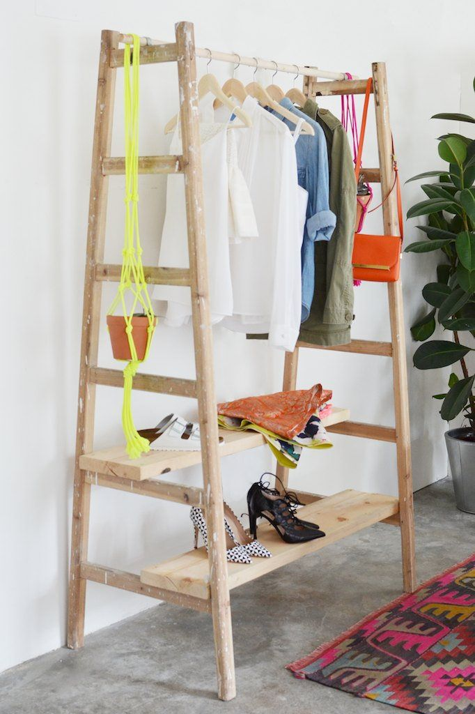 You can also make a wardrobe out of a ladder.