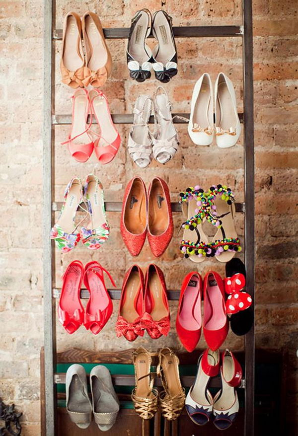 The ladder was used to organize and display high-heeled shoes.