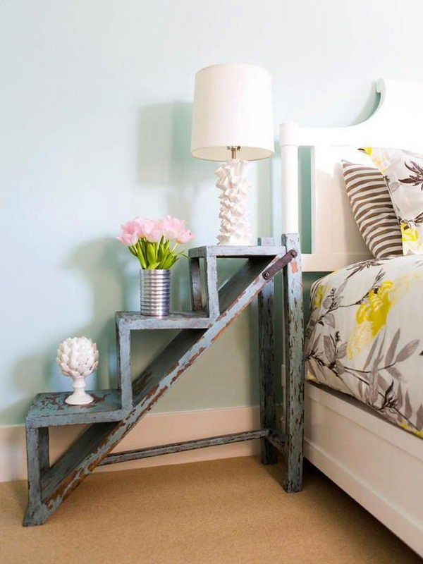 It's a cool idea to convert a garden ladder to a vintage style nightstand.