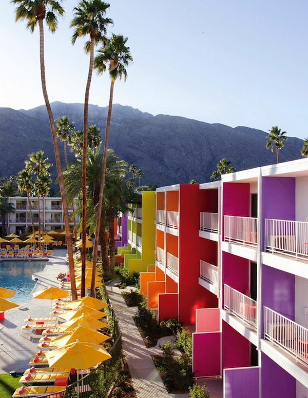 Saguaro Hotel in Palm Springs, California. The Saguaro hotel is a 1950s Technicolor time capsule located in the middle of the desert city of Palm Springs, Calif. It is colorful and vibrant, inside and out, and is an exciting place to stay in an exciting town.