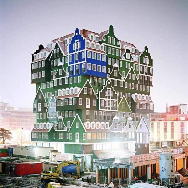 Stacked Houses: New Hotel in Amsterdam. This is a hotel that looks like a pileup of traditional Dutch houses, all grafted together in bright green and blue. The structure is a lively stacking of various examples of these traditional houses, ranging from a notary's residence to a worker's cottage.