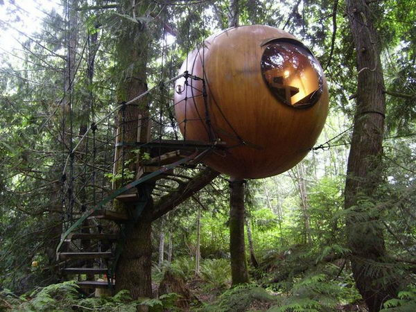 Free Spirit Spheres - Qualicum Beach, BC. These treehouse spheres are set amongst the lush Pacific Northwest rainforest. It is open all year long, and is especially cozy in snowy winters.