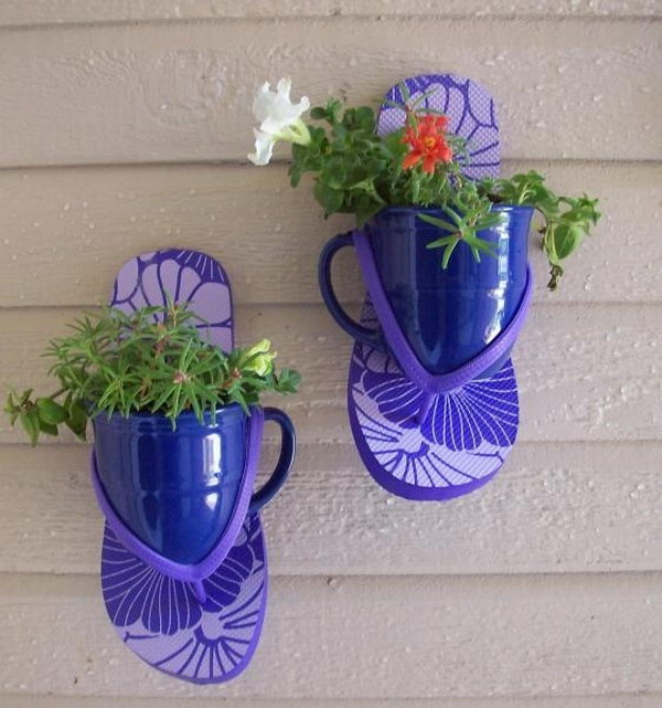 Flip flop flower coffee cup. These container gardening ideas offer a great way to brighten your surroundings immediately. Make your home look different unique and interesting.