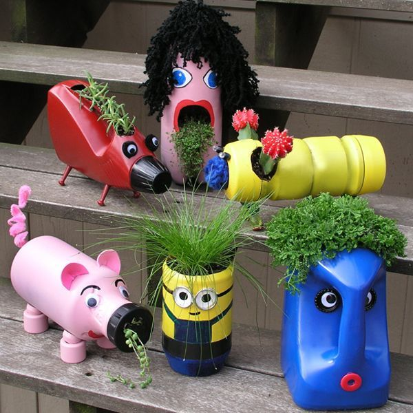 Cute upcycled planters for kids. These container gardening ideas offer a great way to brighten your surroundings immediately. Make your home look different unique and interesting.