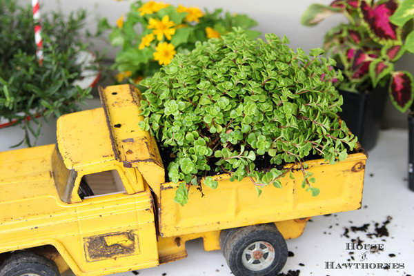 Truck toy gardening. These container gardening ideas offer a great way to brighten your surroundings immediately. Make your home look different unique and interesting.