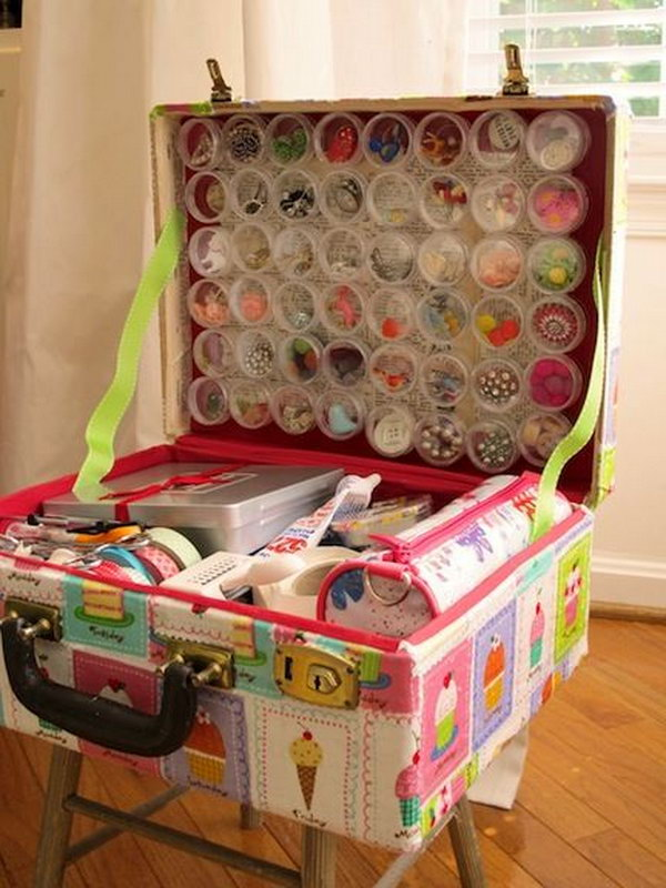 old suitcase craft supplies holder. Smart, well-organized, bright and beautiful. The right storage containers can make a difference in storing your possessions for safekeeping and easy access.