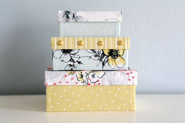 fabric covered boxes. Smart, well-organized, bright and beautiful. The right storage containers can make a difference in storing your possessions for safekeeping and easy access.