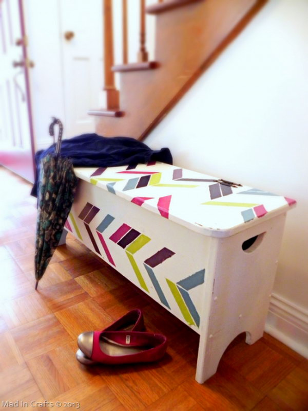 herringbone entryway storage bench. Smart, well-organized, bright and beautiful. The right storage containers can make a difference in storing your possessions for safekeeping and easy access.