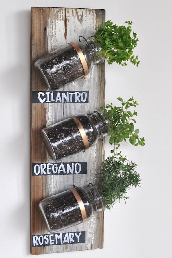 Mason jar herb garden.