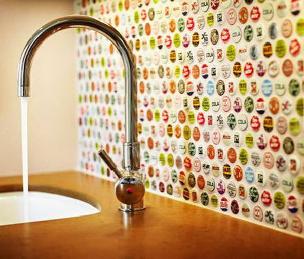 Bottle cap backsplash. Not only protect the walls from staining, but also add a decorative touch to your kitchen design.