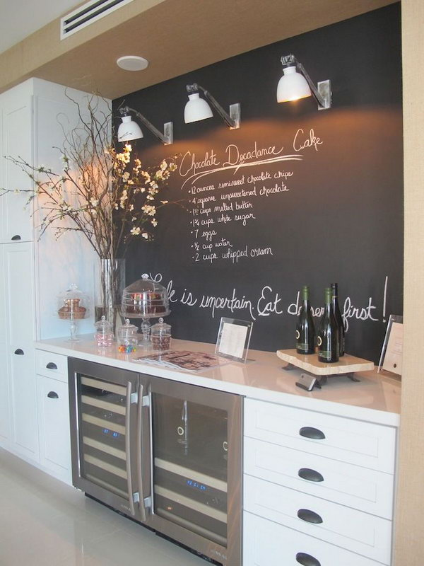 Chalkboard kitchen backsplash. Not only protect the walls from staining, but also add a decorative touch to your kitchen design.