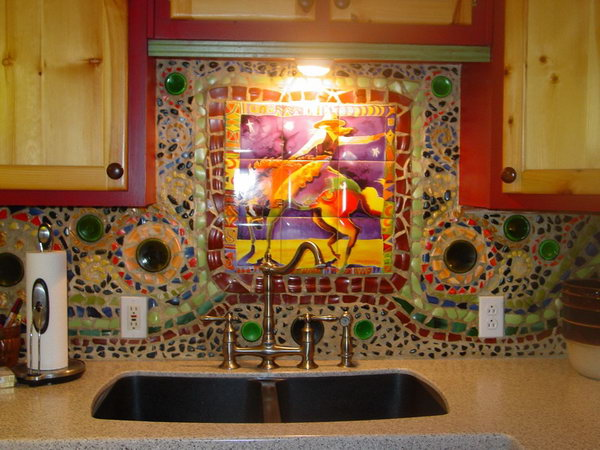 Broken plates and bottle bottoms for backsplash. Not only protect the walls from staining, but also add a decorative touch to your kitchen design.