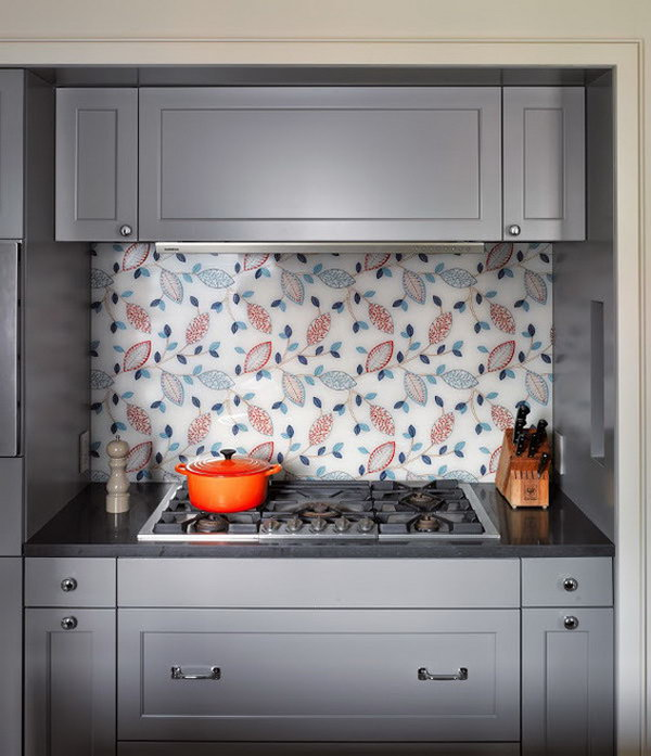 Kitchen glass fabric backsplash. Not only protect the walls from staining, but also add a decorative touch to your kitchen design.