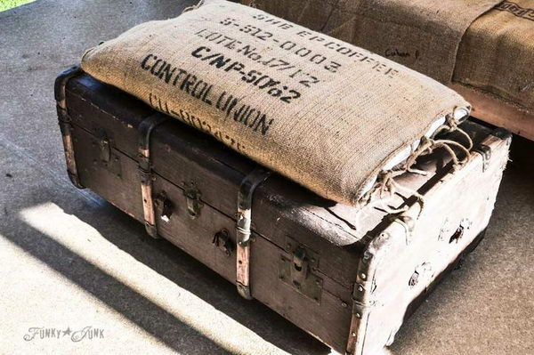 Old Trunk And Bean Sack Ottoman.